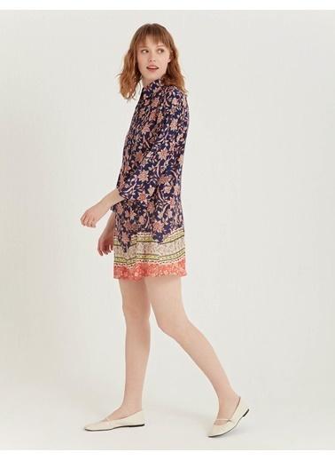 BGN Lacivert - Viskon Karışım Nervurlu Elbise Lacivert
